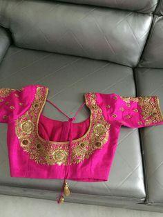 Aru's Choli Designs, Saree Blouse Designs, Plain Saree With Heavy Blouse, South Indian Blouse Designs, Blouse Desings, Kids Gown, Designer Blouse Patterns, Work Blouse, Hand Designs
