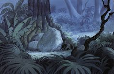 Enjoy a collection of Original Concept Art made for Disney& Jungle Book. Bagheera the Panther and Baloo the Bear have a difficult time trying to convi Illustration Jungle, Landscape Illustration, Digital Illustration, Book Background, Animation Background, Jungle Drawing, Art Environnemental, Animation Disney, Episode Interactive Backgrounds