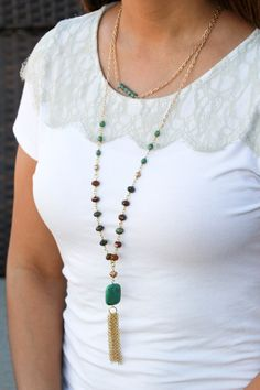 Turquoise beaded necklace with gold tassel by BlushingGemDesigns on Etsy https://www.etsy.com/listing/269583507/turquoise-beaded-necklace-with-gold