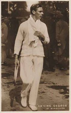 Real photograph of HM King George VI in tennis whites, rackets in hand, at Wimbledon, White border. George Vi, Roi George, English Royalty, English Manor, England, Queen Mary, Queen Mother, Duke Of York, Young Prince
