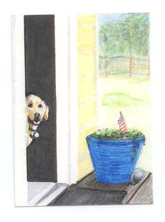 Fourth of July Card Animal Art Labrador Fine by overthefenceart
