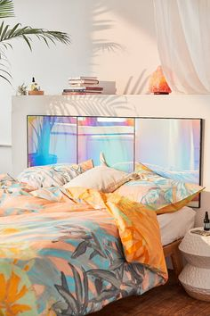 Shop Rainbow Iridescent Headboard at Urban Outfitters today. We carry all the latest styles, colors and brands for you to choose from right here. My New Room, My Room, Dorm Room, Home Interior, Interior Design, Modern Interior, Home Look, Bedroom Decor, Bedroom Ideas