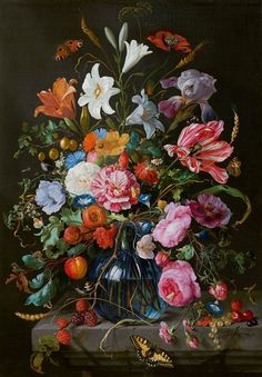 Jan Davidsz De Heem Vase with Flowers, , Mauritshuis, The Hague. Read more about the symbolism and interpretation of Vase with Flowers by Jan Davidsz De Heem. Art Floral, Flower Vases, Flower Art, Dutch Still Life, Baroque Painting, National Gallery, Still Life Flowers, Art Sculpture, Dutch Painters