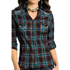 Panhandle Slim Lurex® Ombre Plaid Western Shirt - Snap Front, Long Sleeve (For Women)