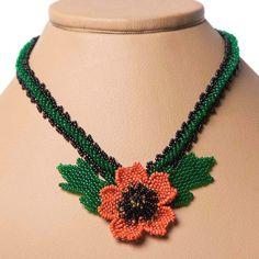 Beaded Handmade Jewelry Necklace Blooming Small Flower door koraliky