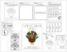 November School Unit Kindergarten or 1st grade.  This is her TPT unit, but cute ideas!
