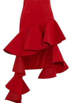 Jacquemus Ruffled Asymmetric Brushed-twill Mini Skirt In Red Top Designer Brands, Designer Shoes, J W Anderson, Culottes, Jennifer Fisher, Piece Of Clothing, Fashion 2017, Mini Skirts, Ballet Skirt