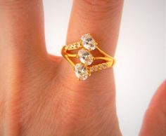 Women's Rhinestone Cocktail Fashion Ring Three Band Gold Tone Size 7.75 #Unbranded #Cocktail