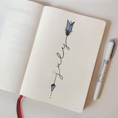 Bullet journal monthly cover page, July cover page. | @ink.outside.the.box