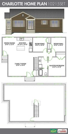 Charlotte 3 Bedroom 1 Bathroom Home Plan Features Open Concept Living Room Dining Kitchen And A Master With Walk In Closet Access To