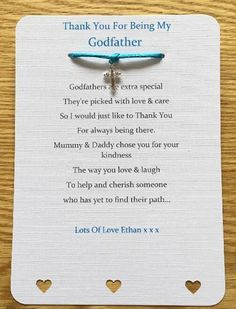 Thank You For Being My Godparents, Godmother, Godfather, Christening Card Gift - Lila - Godparent proposals Baby Boy Christening, Christening Gifts, Godfather Gifts, The Godfather, Baptism Thank You Cards, Christening Decorations, Baptism Party, Baptism Ideas, Baby Dedication