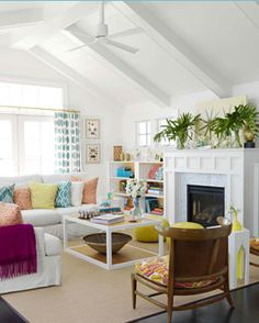 Great color scheme and coffee table looks really like a DIY project.