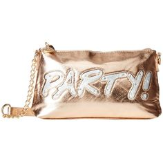 Betsey Johnson Kitch Light Up Crossbody Party (Rose Gold) Cross Body... ($78) ❤ liked on Polyvore featuring bags, handbags, shoulder bags, betsey johnson crossbody, chain strap shoulder bag, crossbody handbags, crossbody purse and man bag