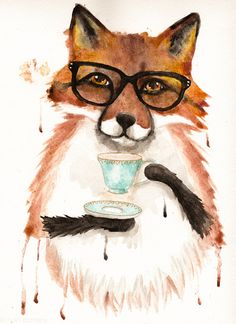 Fox With a Cuppa Tea - Original Folk Art Watercolor Painting by KilkennycatArt on Etsy