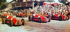 1950 GP Szwajcarii (Bremgarten) ustawienie na starcie 1) #14 Juan Manuel Fangio (Alfa Romeo 158) 2) #16 Nino Farina (Alfa Romeo 158) 3) #12 Luigi Fagioli (Alfa Romeo 158) 4) #22 Luigi Villoresi (Ferrari 125) 5) #18 Alberto Ascari (Ferrari 125)