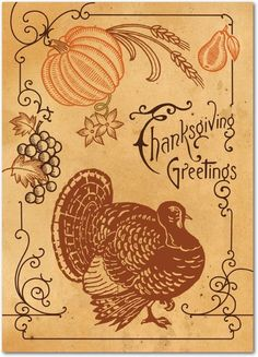 Timeless Turkey - Happy Thanksgiving Greeting Cards from Treat.com