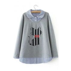 a0b89731795f4 Lovely Cartoon Cat Print Long Sleeve Fake Two-Piece Pullover... (1