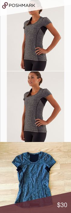 Lululemon star runner SS tee In our quest to colour your world, it's important for us to acknowledge that you may experience colour transfer with some of our bright and vibrant gear.  Find out the best way to care for your brights. reflective detailing helps in low-light visibility body-mapped for airflow with moisture wicking, quick-drying Diamond Mesh to help keep you dry dropped hem in the back for bum coverage chafe-resistant flat seams - tag removed but will best fit a medium. No trades…
