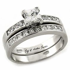 NEW!! 2016 Bridal Set - BEST SELLER Perfect 1CT Princess Cut Russian Lab Diamond Channel Set Wedding Bridal Set Ring