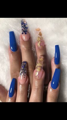 Royal Blue and Gold Nails Glitter and Foil Aycrlic Nails, Hair And Nails, Perfect Nails, Gorgeous Nails, Fire Nails, Best Acrylic Nails, Acrylic Nail Art, Dream Nails, Shellac