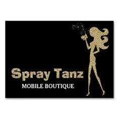 311 spray tan fashionista silhouette gold sparkle business card shop 311 custom spray tanz business card created by personalize it with photos text or purchase as is reheart Choice Image