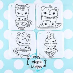 Num Cuties 4x4 coloring page ITH Embroidery design file set