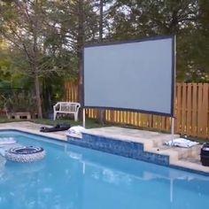 Backyard Pool Landscaping, Small Backyard Pools, Backyard Patio Designs, Swimming Pools Backyard, Backyard Cabana, Backyard Beach, Outdoor Movie Screen, Outdoor Theater, Oberirdischer Pool