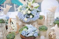 still love the hydrangea, could use the white ones rather than the blue and have succulents, candles, even orchids or gardenias too