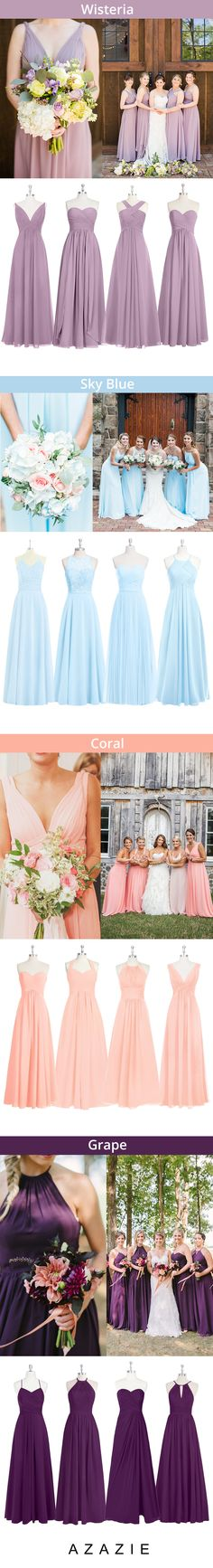 Mixing-and-matching your bridesmaids is easy! Azazie offers 50+ colors to choose from. We offer color swatches to make mixing & matching easier. Wedding tip: Try out our sample program before you purchase to make sure you are completely in love with a dress! Azazie has over 100 styles from delicate lace to bold satins. Shop our affordable bridesmaid dresses today!| 1st from clairedianaphotography.com; 2nd from annaelizabethphotography.com; 3rd kristaleephotography.com; 4th samstroudphoto.com