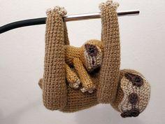 Crochet PATTERN PDF - Amigurumi Sloth - crochet animal pattern, amigurumi sloth pattern, tutorial, baby sloth plush, mother and baby, softie