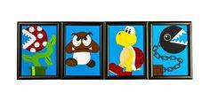 Super Mario Enemies set of 4 5x7 Framed Original by aphlogist, $120.00