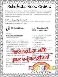 Scholastic Book Order information note for parents!  Tells parents exactly how to order. Editable to add your online ordering code and information.  Great for parent communication at back to school time!!!