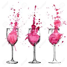 Image result for watercolor wine glass