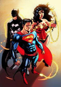 by gabriel reis Dc Heroes, Comic Book Heroes, Comic Books Art, Comic Art, Superman Family, Batman And Superman, Action Comics 1000, Dc Trinity, Superman Wonder Woman