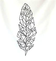 Creative geometric feather sketch. Style: Geometric. Color: Black. Tags: Creative, Nice
