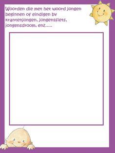 Babyshower spelletje: woorden met jongen