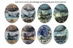 30x40mm Oval Steampunk III Victorian Pirate Ship Hot by kalandor