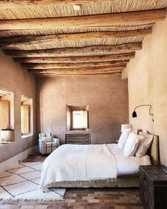 Exotic and ethnic decor idea inspired Marrakech Morocco Adobe Haus, Wood Sconce, Mexico House, Ethnic Decor, Moroccan Interiors, Moroccan Bedroom, Desert Homes, Natural Home Decor, Cheap Home Decor