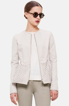 Akris punto Perforated Peplum Cotton Blend Jacket available at #Nordstrom