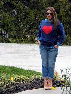 Old Navy heart sweater, boyfriend jeans and denim shirt