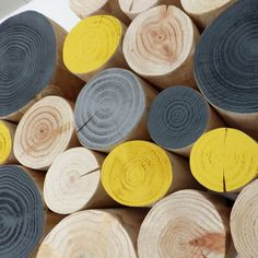NEW! HEPBURN Decorative Logs grey & yellow mix, using paint from The Little Greene Paint Company - 10cm long £32.00