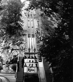 """Taking the Mount Lowe Railway''s """"White Chariot,"""" from the 12-room Rubio Pavilion (in Rubio Canyon) to the top of Echo Mountain. Photo was taken in 1906, three years before a flash flood wiped out the Rubio. LAPL: 00074460 (Bizarre Los Angeles)"""