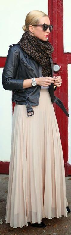 maxi skirt, leather, sunglasses, leopard-print scarf