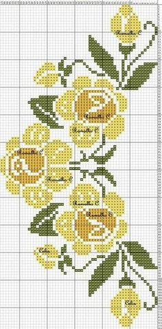 Free Cross Stitch Charts, Cross Stitch Borders, Cross Stitch Rose, Cross Stitch Flowers, Cross Stitch Designs, Cross Stitching, Cross Stitch Embroidery, Hand Embroidery, Cross Stitch Patterns
