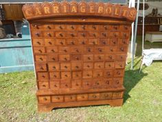 "circa 1870 CUSTOM made cherry CARRIAGE BOLT hardware store cabinet 57"" h x 50"" w in Antiques, Furniture, Cabinets & Cupboards, 1800-1899 