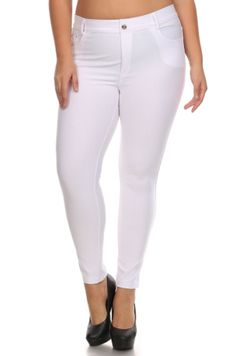 Basic 5 Pocket Color Jeggings Plus Size - White Curvy Fit, Shades Of Black, 0c076cd77b