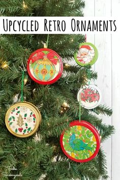 Canning jar lids from Ball jars are PERFECT for upcycling into retro Christmas ornaments with this upcycling idea from Sadie Seasongoods. She paired them with Christmas gift wrap for charming DIY ornaments that are shatterproof. Get all the repurposing details at www.sadieseasongoods.com . #masonjarcrafts #retrochristmas #vintagechristmas #xmasornaments #diyornaments #christmascrafts #christmasornament #holidaycrafts #wrappingpaper #giftwrap Vintage Christmas Wrapping Paper, Wrapping Paper Crafts, Vintage Christmas Ornaments, Retro Christmas, Victorian Christmas, Rustic Christmas, Primitive Christmas, Vintage Holiday, Christmas Craft Projects