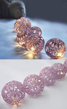 String Lights,Fairy Lights Wedding LED Lights, Party Lighting, Bedroom Decor lamps, 20 Lilac Lace Crocheted balls, garland light by VasilisaSkaska on Etsy https://www.etsy.com/listing/237921598/string-lightsfairy-lights-wedding-led