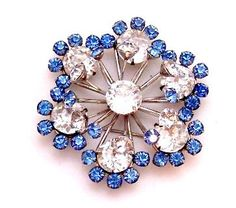 Sterling Silver Clear Blue Rhinestone Pin / by bitzofglitz4u, $65.00