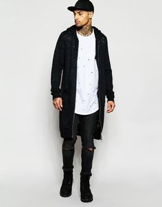 Black+Kaviar+Longline+Zip+Up+Hoodie+With+Distressing